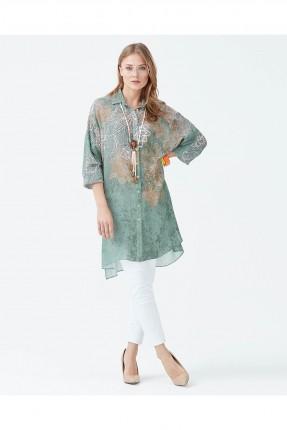 قميص نسائي طويل منقوش سبور شيك - اخضر