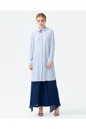 قميص نسائي طويل بازرار مخفية سبور