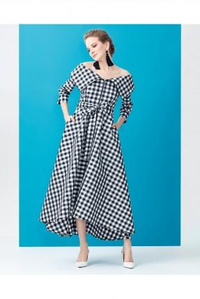 فستان نسائي مقلم باكمام منخفضة سبور