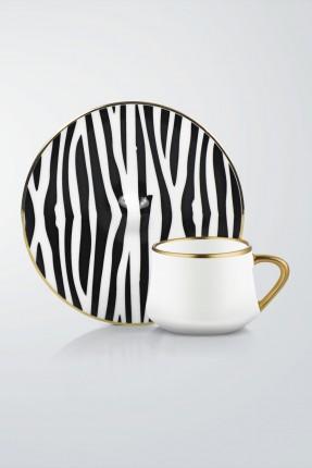 طقم قهوة 6 اشخاص - مزخرف زيبرا