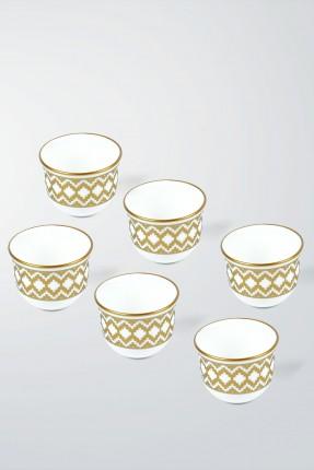 طقم فنجان قهوة عربية 6 اشخاص - مزخرف ذهبي