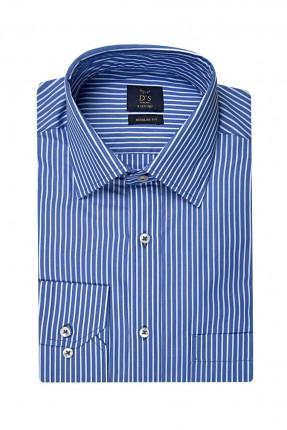 قميص رجالي مقلم بياقة كلاسيكية - ازرق