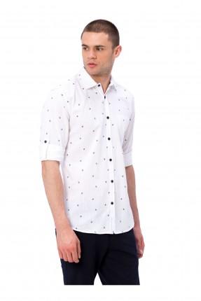 قميص رجالي منقط سبور - ابيض