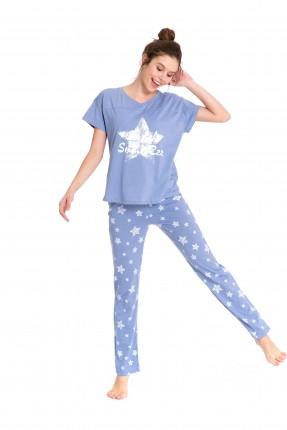بيجاما بناتي منقوشة نجوم - ازرق فاتح