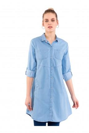قميص نسائي بازرار كبس وجيوب جانبية سبور