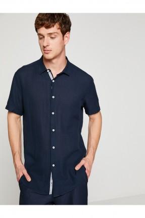 قميص رجالي سادة سبور - ازرق داكن
