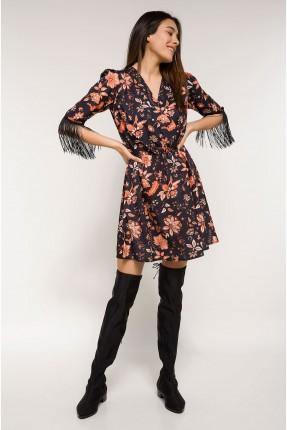 فستان نسائي مورد باكمام مزين شرشبة