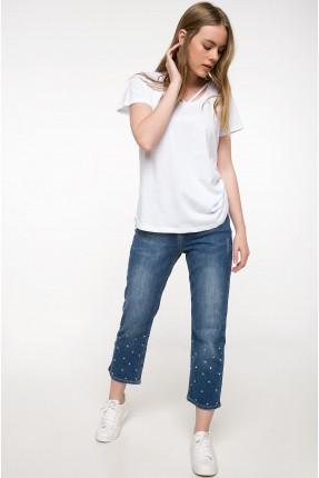 بنطال نسائي جينز مزين من الاسفل سبور