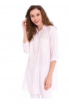قميص نسائي مقلم بجيب جانبي - زهري