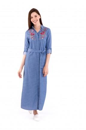 فستان طويل مطرز من الاطراف سبور