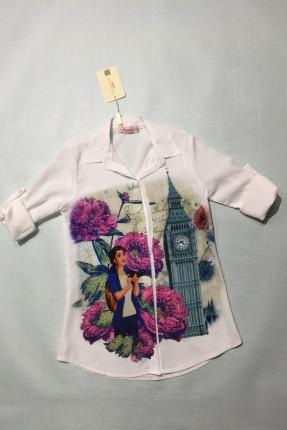 قميص اطفال بناتي مع رسمة - ابيض