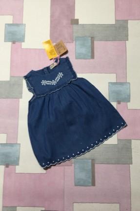 فستان اطفال حفر - ازرق داكن