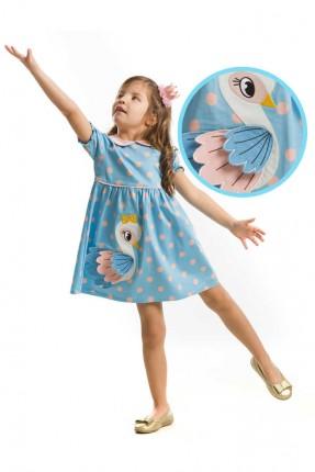 فستان اطفال بناتي مزين بجوانح بطة