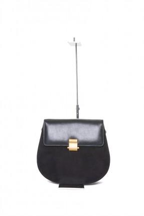 حقيبة يد نسائية جلد مع غطاء - اسود