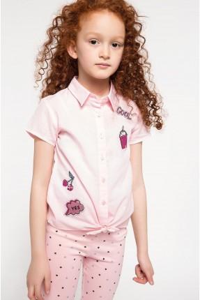 قميص اطفال بناتي مع ربطة - زهري