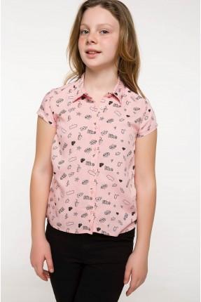قميص اطفال بناتي منقش - وردي
