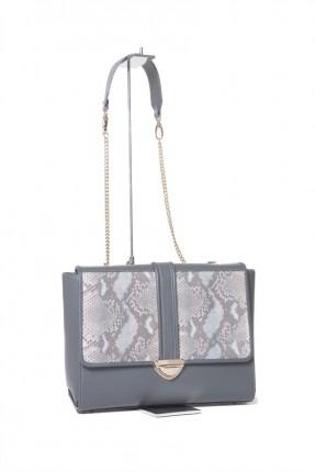 حقيبة يد نسائية جلد مع حزام وغطاء مموه - رمادي