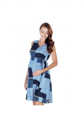 فستان حمل كاروهات - ازرق
