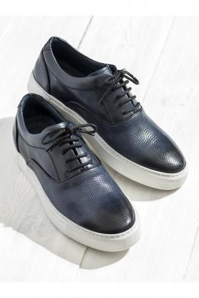 حذاء رجالي جلد مع رباطات - ازرق داكن