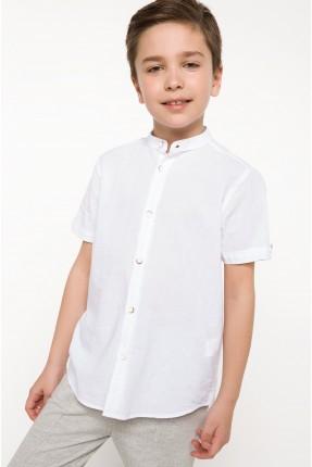 قميص اطفال ولادي نصف كم - ابيض