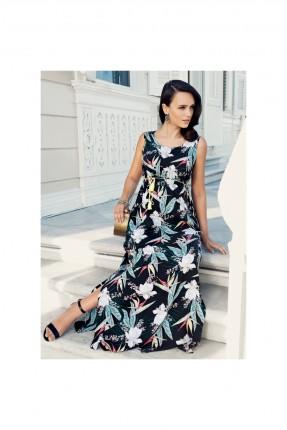 فستان حمل مزهر مشقوق