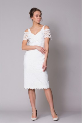 فستان رسمي باكمام منخفضة دانتيل قصير