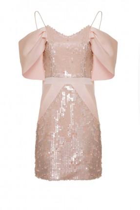 فستان رسمي قصير باكتاف مخفضة مزين ترتر