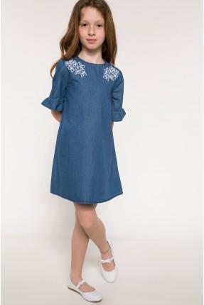 فستان اطفال بناتي باكمام كشكش - ازرق