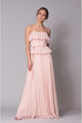 فستان رسمي بروتيل طويل مع كسرات