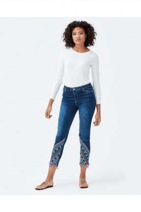 بنطال نسائي جينز منقوش زخرفة من الاسفل