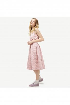 فستان سبور كاروهات ياقة قميص