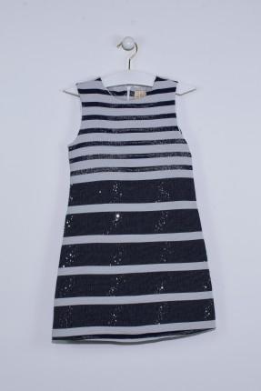 فستان اطفال بناتي مخطط - اسود