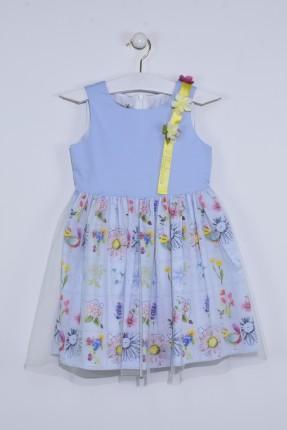 فستان اطفال بناتي نفش - ازرق