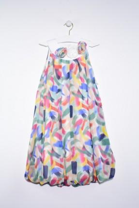 فستان اطفال بناتي منقش بالوان