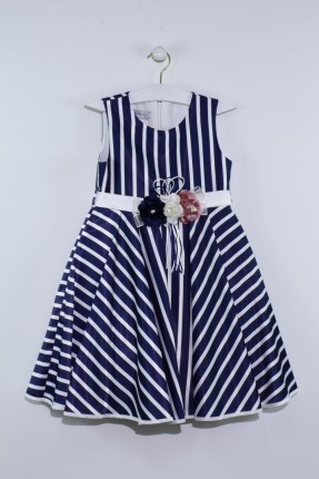فستان اطفال بناتي مخطط مزين بورد - كحلي