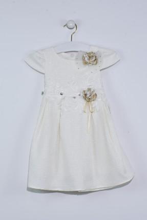فستان اطفال بناتي مزين ورد - ابيض