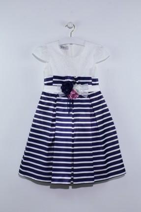 فستان اطفال بناتي مخطط مزين بورد