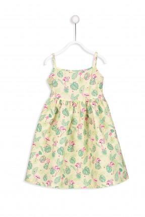 فستان اطفال بناتي منقوش بروتيل - اصفر
