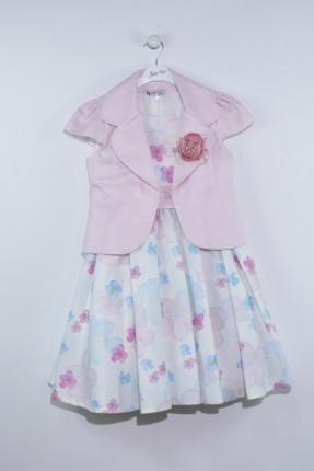 فستان اطفال بناتي منقش بورد مع جاكيت - وردي