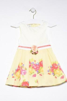 فستان اطفال بناتي مزخرف بورد - اصفر