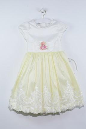 فستان اطفال بناتي مع فيونكة مزين بدانتيل - اصفر فاتح