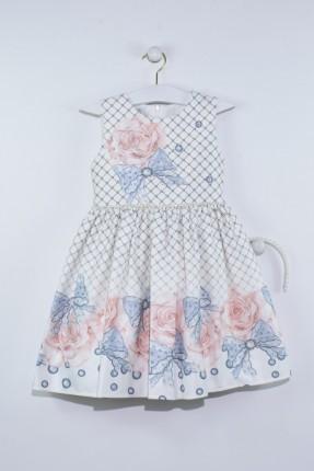 فستان اطفال بناتي منقش بورد مع شريط لؤلؤ