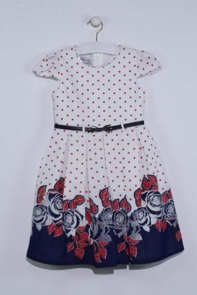 فستان اطفال بناتي منقش بورد - ابيض