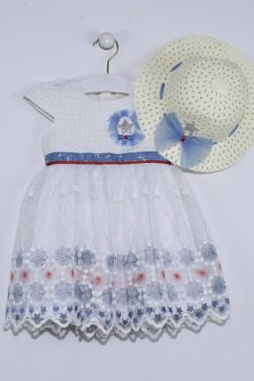 فستان اطفال بناتي مع تول - ابيض