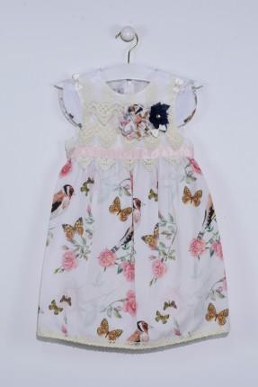 فستان اطفال بناتي مزخرف مع دانتيل - ابيض