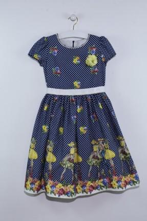 فستان اطفال بناتي منقش بورد مع طبعات