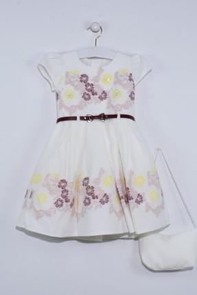 فستان اطفال بناتي مزين ورد مع حقيبة - ابيض