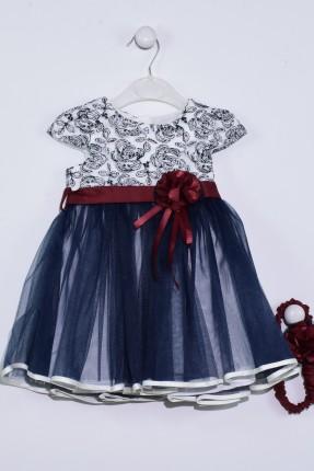 فستان بيبي بناتي مع تول مزين بوردة