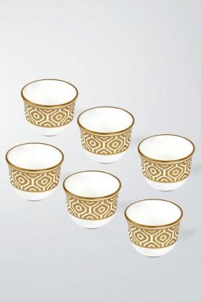 طقم فناجين قهوة عربية 6 اشخاص - نقش ذهبي