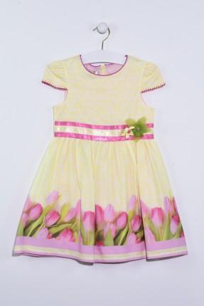 فستان اطفال بناتي مزخرف بوردة التوليب
